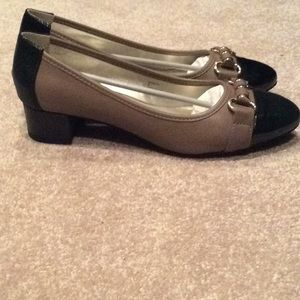 "Karen Scott new brown and black shoes, 1"" heel, 9m"